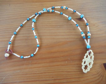 Handmade Beaded Necklace With Carved White Pendant - White, Turquoise, Red - Stone, Wood, Glass - Hippie, Natural, Boho