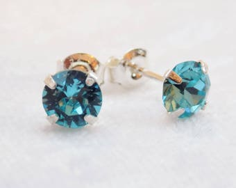 Sterling Silver and Swarovski Crystal Stud Earrings in Aquamarine Blue