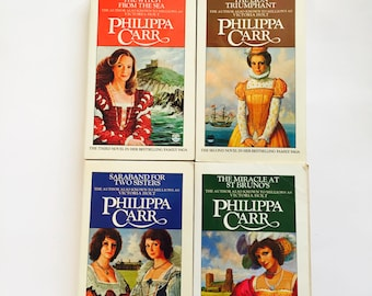 Daughters of England Books /Vintage Philippa Carr Book Set Witch from Sea, Saraband for Two Sisters++ 1970's Softcover w/Slipcover
