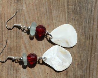 boho style earrings jewelry natural mother of pearl shells and genuine sea glass dangling earrings beach jewellery