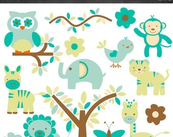50% OFF Animal Clipart - Blue and Green - Instant Download