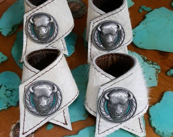 Buffalo Heads and Cowhide Napkin Rings (set of 4)