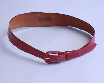 1950s Hi-Lo belt | vintage 50s red leather waist belt with wide back | xs to medium