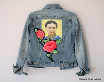 Frida Kahlo Women's Denim Jean Jacket  / Funky Unique Boho Clothing / Day of the Dead / Festival Cloting