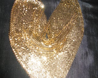 Whiting and Davis mesh necklace, bib gold 80s jewelry