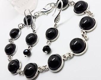 Black onyx jewellery set, black onyx bracelet, onyx sterling silver earrings, crystal earrings