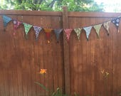 Recycled, Upcycled Sari Prayer Flags, Decorative Flag, Bunting