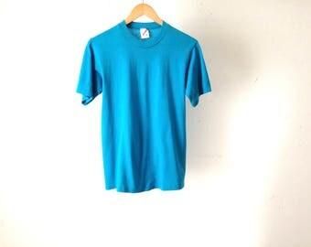vintage BASIC classic TEAL blue slouchy t-shirt top vintage shirt