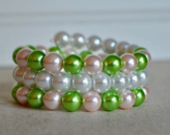 Pink and Green Pearl Wrap Bracelet