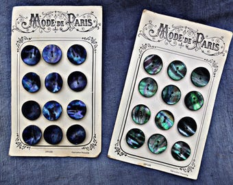 French vintage mother of pearl buttons, large, blue and green