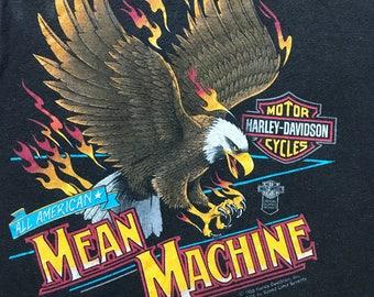 Vintage Harley Davidson Mean Machine All American Eagle Soaring shirt large RARE