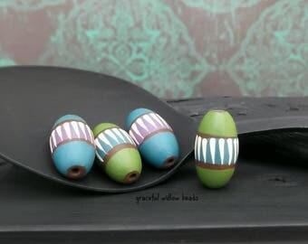 Handmade Striped Polymer Oval Bead Set - Green Blue Purple Brown Ivory - Bohemian Bead Set - 16x8mm - Pkg. 4