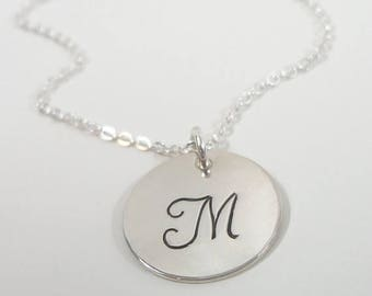"SALE - Sterling Silver Initial Necklace - 5/8"" Initial Disc - Celebrity Inspired Jewelry - Personalized Initial Necklace - Hand Stamped Mono"