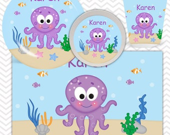 Octopus Plate, Bowl, Cup, Placemat - Personalized Octopus Dinnerware for Kids - Custom Tableware