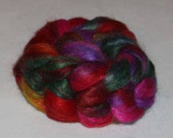 Hand Dyed Mohair Roving Fine Quality 90/10% Mohair/ wool top 4.15 oz PARTY TIME