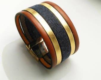 Whiskey leather cuff gold and denim with clasp gold