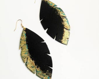 black leather blue and gold earrings