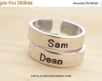WEEKEND SALE Custom Supernatural Inspired Hand Stamped Adjustable Aluminum Rings