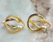 14K Yellow Gold Hollow Double Hoop Pierced Earrings - 2.2 grams