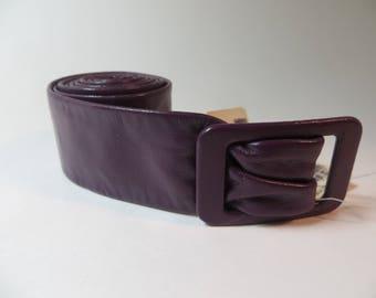 Vintage Aubergine Colored Leather Belt