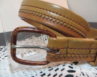 Vintage Sawtooth Double Stitched Leather Belt