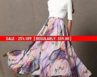 Chiffon skirt, long skirt, print skirt, maxi skirt, summer skirt, elastic waist skirt, swing skirt, prom skirt, flare skirt, skirts C586