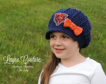 CLEARANCE!! Ready to Ship!! The Original- Chicago Bears Inspired Newsboy Hat with Bow / Layne Couture / Newborn to Adult