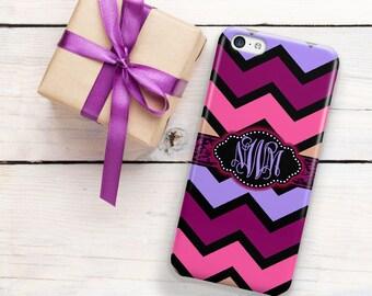 Teen fashion, Chevron Monogram phone case, Cute Teen Gir, Purple pink blue, Fits iPhone 4/4s 5/5s 6/6s 7 8 5c SE X and Plus (1380)