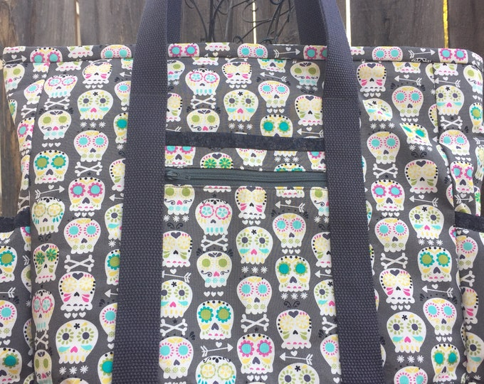 Teacher Tote Bag, Sugar Skull Travel Tote, Large Tote Bag with Pockets, Professional Tote, Nurse Tote, Diaper Bag, Carry On