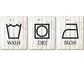 Wash Dry Iron - Laundry Room Art - Decor - Set of Three Laundry PRINTs - Room Decor - Laundry Symbols - Farmhouse Style Wall Art PRINTs