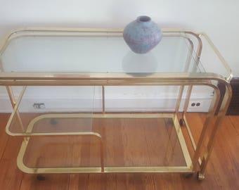 Rare Milo Baughman 1970s Brass Expanding Bar Cart/Desk for D.I.A.