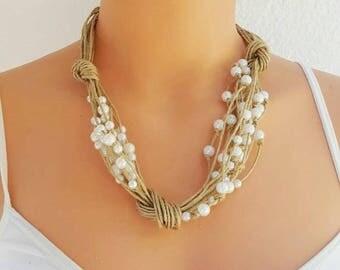 Linen bib necklace linen jewelry bib necklace natural linen jewelry necklaces art jewelry summer necklace linen thread