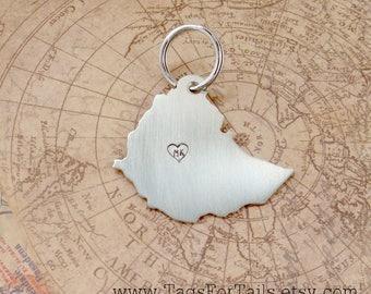 Ethiopia Keychain with one monogrammed heart- Customized & Handmade