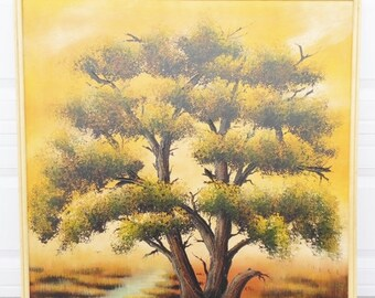 ON SALE Vintage, 1970's, R, Styles, Avante Studios, Mid-Century, Tree, Oil Painting, Art, Framed, Yellow, Orange