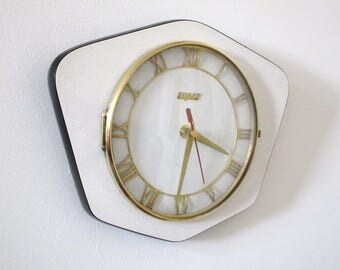 French 1950-60s Atomic Age Bayard WHITE Formica Wall Clock - Funky Mod Shape - Elegant Vintage Wall Clock - Great Working Condition