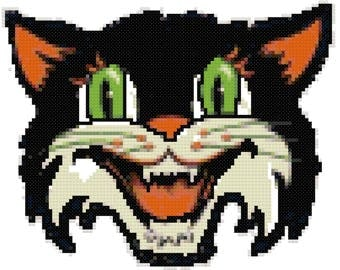 Vintage Halloween Cat Mask Cross Stitch Pattern, Digital Download PDF