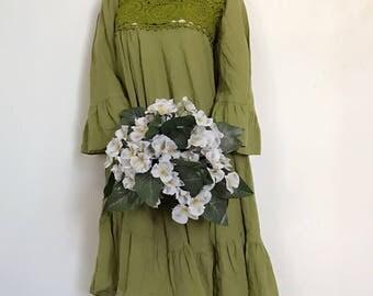 Green   Maxi Beautiful  cotton Dress/Summer Dress/Party Dress