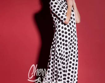 SALE ON 20 % OFF Polka dots Summer Dress / Maxi dress with sleeves/ Long Sleeve Maxi Dress / Party Dress / Spring Dress/ Plus Size Evening D