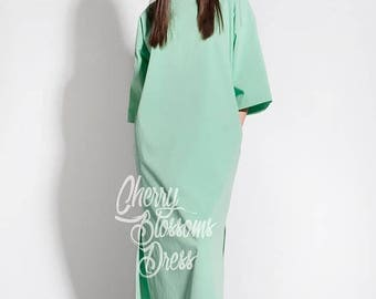 SALE ON 20 % OFF Mint Summer dress/ Elegant dress/ Long sleeve dress/ Maxi Dress/ Summer Maxi Dress/ Day dress/ Plus size dress/ Plus size c