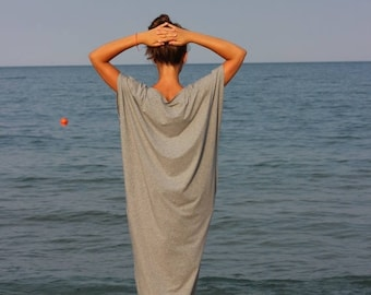 SALE ON 20 % OFF Grey Maxi dress, Caftan, Kaftan, Plus size clothing, Long dress, Casual dress, Day dress, Plus size dress, Summer dress