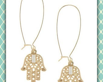 Hamsa and Crystal Drop Earrings
