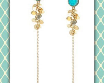 Turquoise Lucite Dangle Cluster Earrings