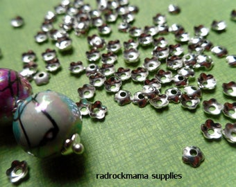 30 Silver Tone 4mm Flower Bead Caps    -A3C3-1