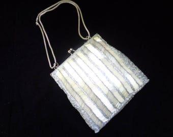 Vintage Glass Bead Formal Purse Prom Purse Wedding Clutch Chain Handle
