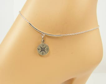 Sterling Silver Compass Ankle Bracelet, Silver Compass Anklet, Graduation Gift, Compass Jewelry, Vacation Travel Ankle Bracelet |NS1-7