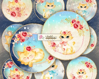 Light Night - 2.5 inch circles - set of 12 - digital collage sheet - pocket mirrors, tags, scrapbooking, cupcake toppers