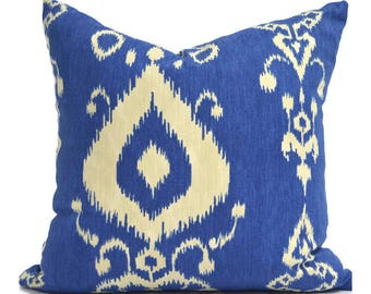 Pillow Covers ANY SIZE Decorative Pillow Cover Blue Pillow Mill Creek Tullahoma Ikat Bay