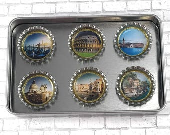 Italy Magnets Refrigerator Magnets Bottle Cap Magnets Repurposed Accessories Italian Landscape Gift Set Rome Magnets