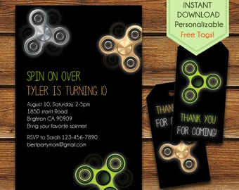 Fidget Spinner Invitation + Free Fidget Spinner Thank You Tags, Fidget Spinner Birthday, Fidget Spinner Party, Hand Spinner, Fidget Toy