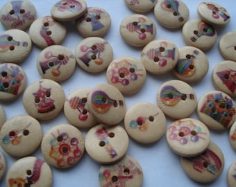 15mm Fun in Playground Buttons, 2-Hole Printed Flat Round Wooden Buttons, Pack of 100 Buttons, 2.5p Buttons!! W1551
